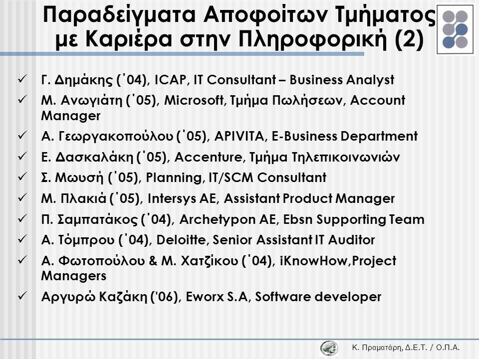 Παραδείγματα Αποφοίτων Τμήματος με Καριέρα στην Πληροφορική (2)