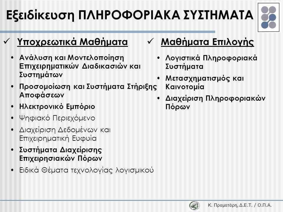 Εξειδίκευση ΠΛΗΡΟΦΟΡΙΑΚΑ ΣΥΣΤΗΜΑΤΑ