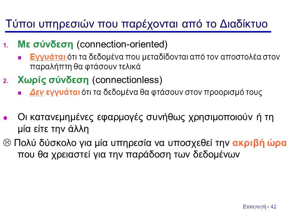 Τύποι υπηρεσιών που παρέχονται από το Διαδίκτυο