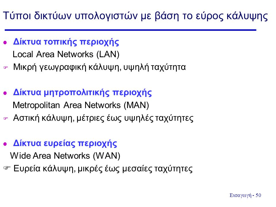 Τύποι δικτύων υπολογιστών με βάση το εύρος κάλυψης