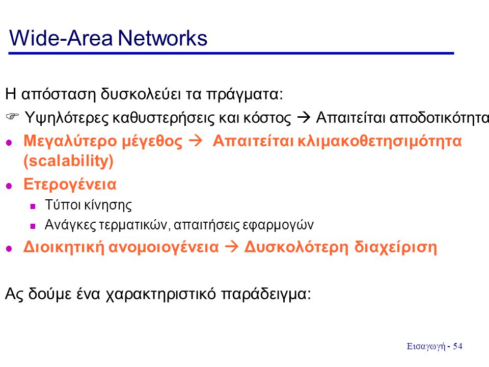 Wide-Area Networks Η απόσταση δυσκολεύει τα πράγματα: