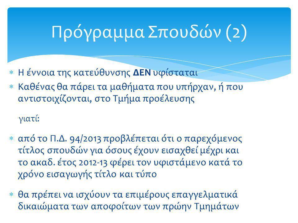 Πρόγραμμα Σπουδών (2) Η έννοια της κατεύθυνσης ΔΕΝ υφίσταται