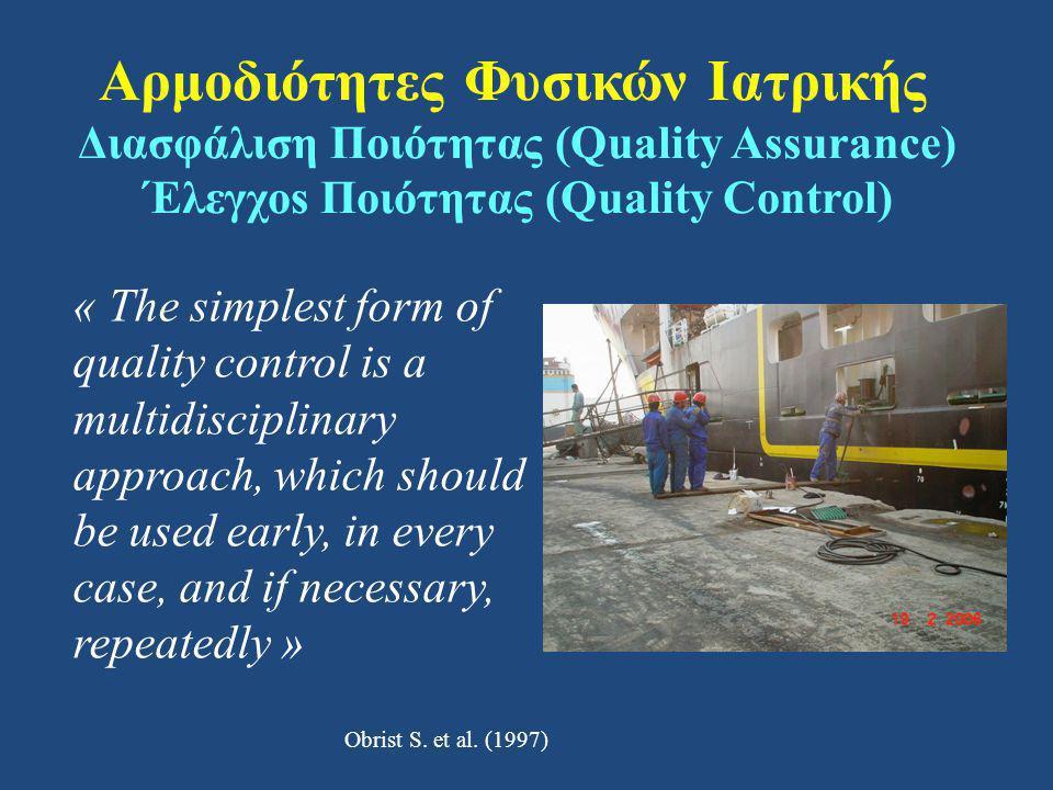 Αρμοδιότητες Φυσικών Ιατρικής Διασφάλιση Ποιότητας (Quality Assurance) Έλεγχοs Ποιότητας (Quality Control)