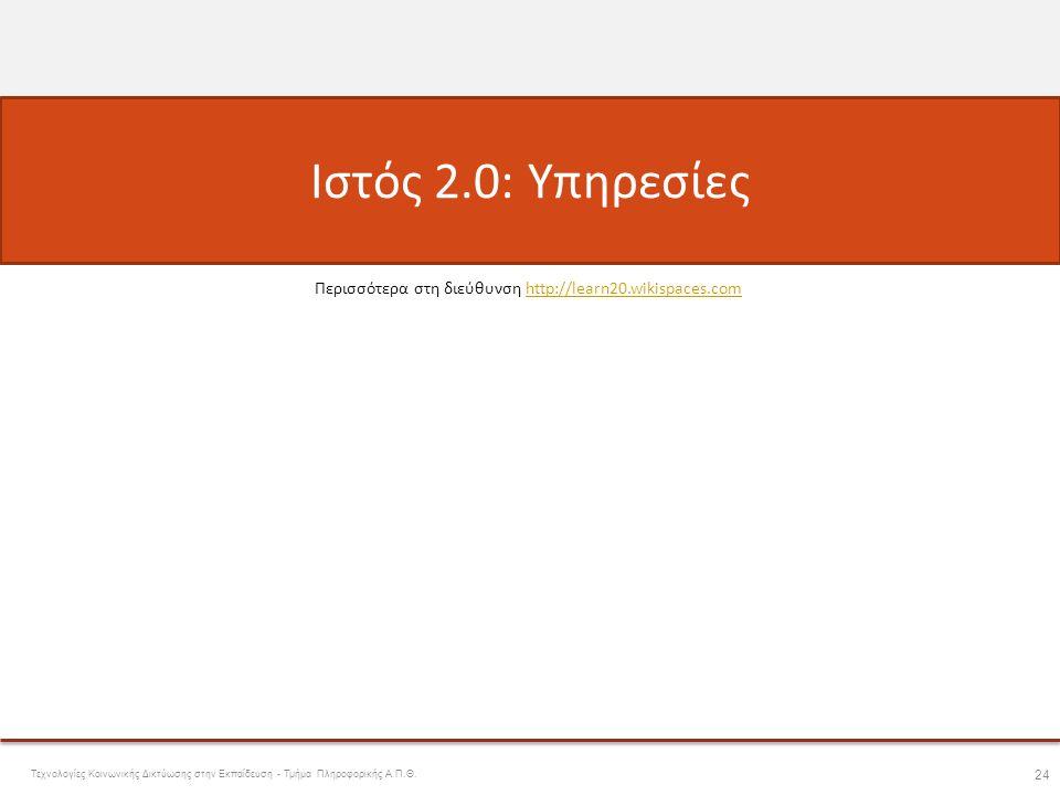 Ιστός 2.0: Υπηρεσίες Περισσότερα στη διεύθυνση http://learn20.wikispaces.com.