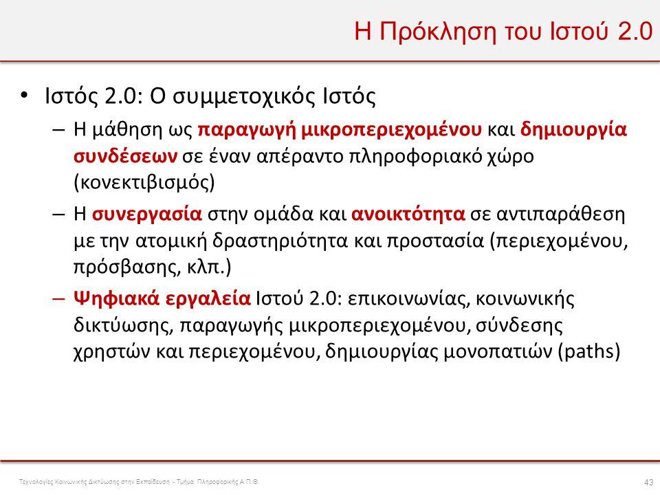 Ιστός 2.0: Ο συμμετοχικός Ιστός