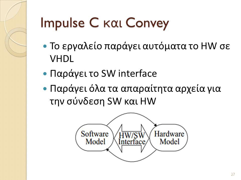 Impulse C και Convey Το εργαλείο παράγει αυτόματα το HW σε VHDL