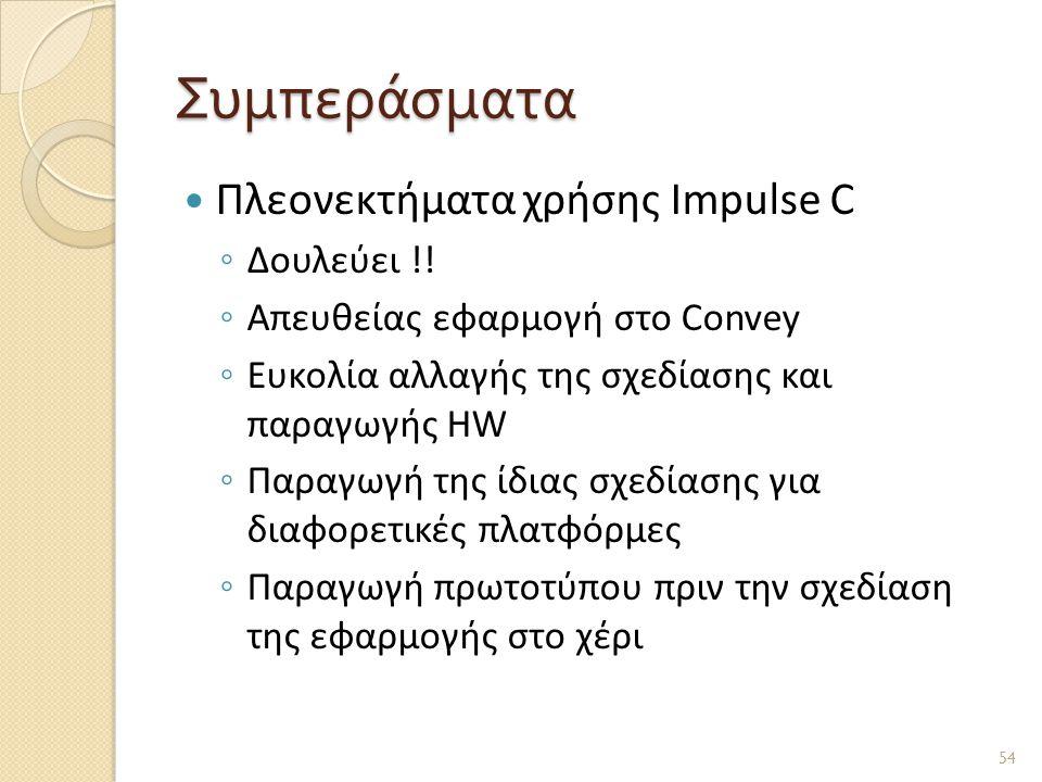 Συμπεράσματα Πλεονεκτήματα χρήσης Impulse C Δουλεύει !!