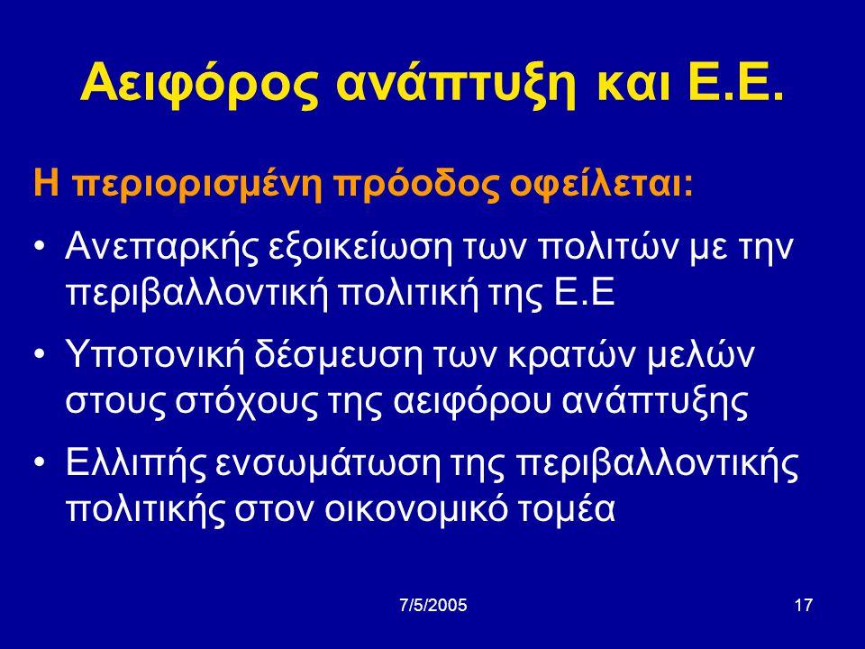 Αειφόρος ανάπτυξη και Ε.Ε.