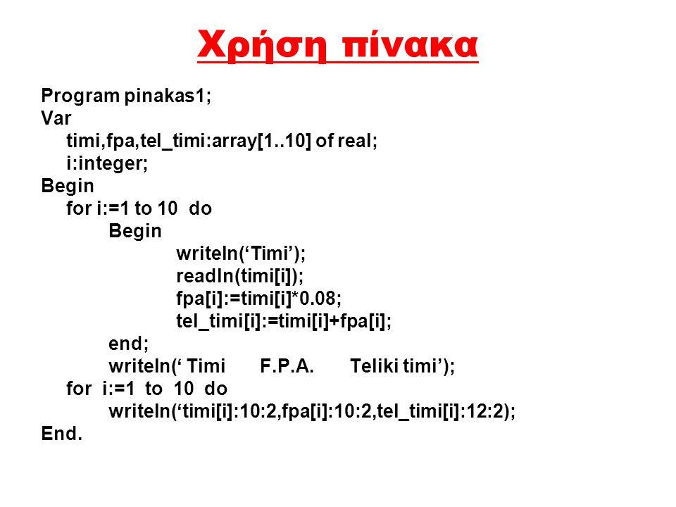 Χρήση πίνακα Program pinakas1; Var