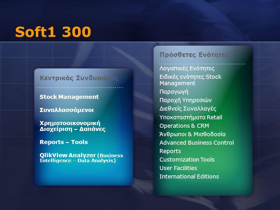 Soft1 300 Πρόσθετες Ενότητες Κεντρικός Συνδυασμός Λογιστικές Ενότητες