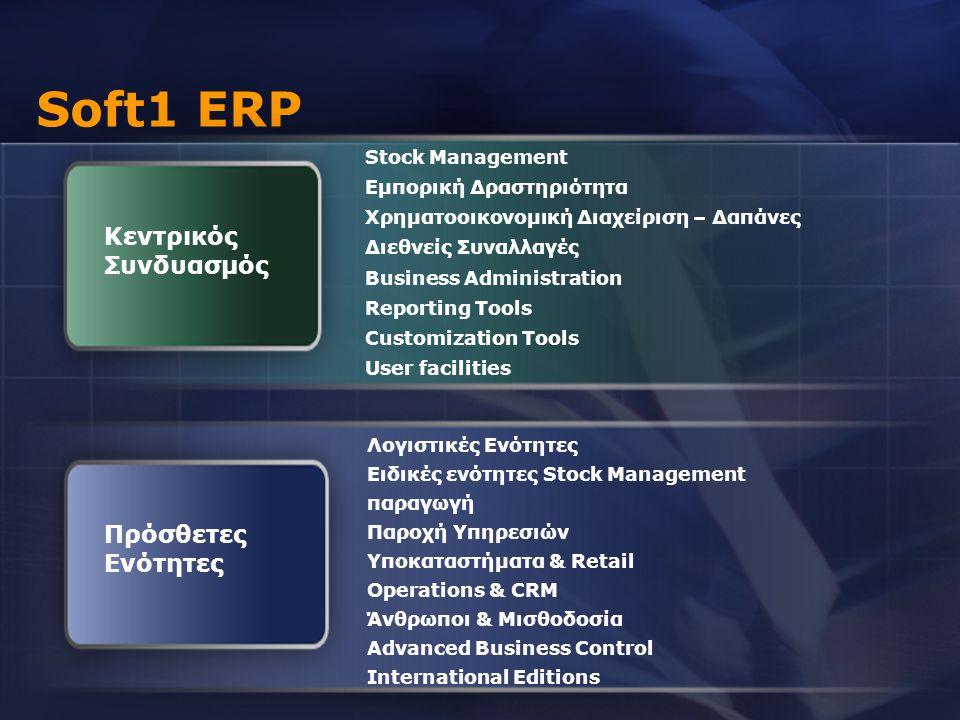 Soft1 ERP Κεντρικός Συνδυασμός Πρόσθετες Ενότητες Stock Management