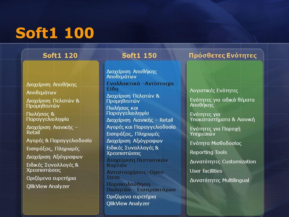 Soft1 100 Soft1 120 Soft1 150 Πρόσθετες Ενότητες Διαχείριση Αποθήκης