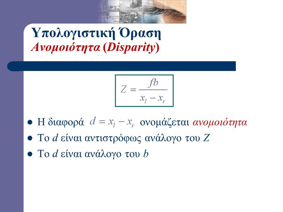Υπολογιστική Όραση Ανομοιότητα (Disparity)