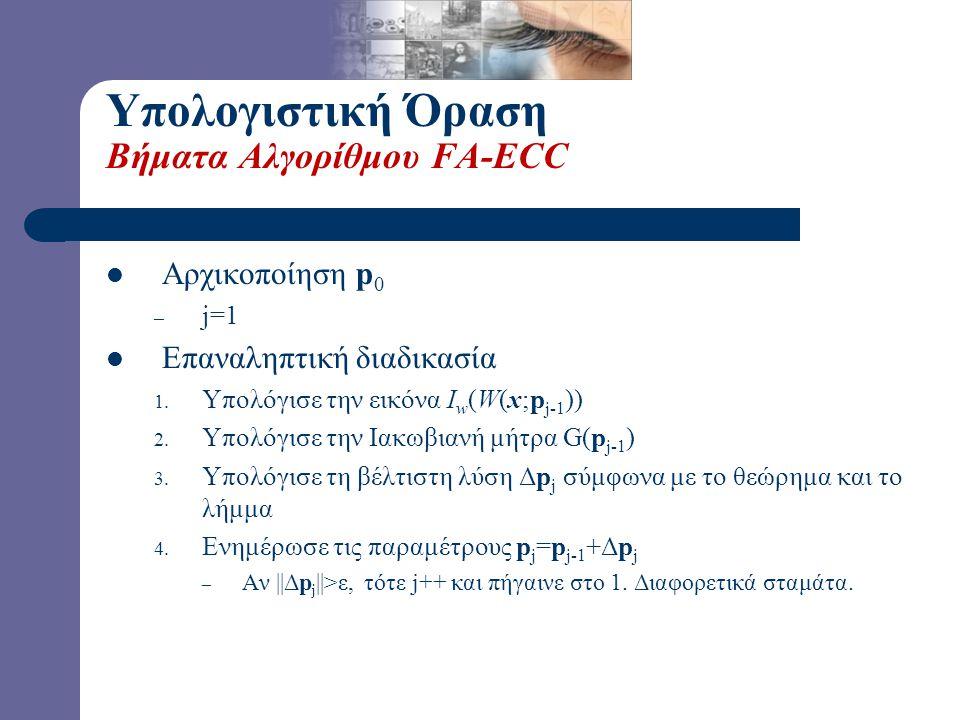 Υπολογιστική Όραση Βήματα Αλγορίθμου FA-ECC Αρχικοποίηση p0