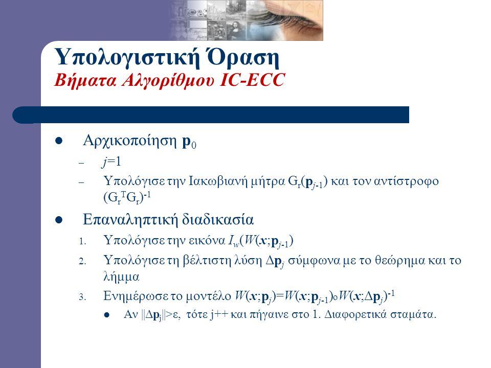 Υπολογιστική Όραση Βήματα Αλγορίθμου IC-ECC Αρχικοποίηση p0