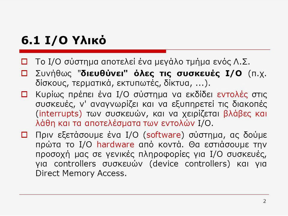 6.1 I/O Υλικό To Ι/Ο σύστημα αποτελεί ένα μεγάλο τμήμα ενός Λ.Σ.
