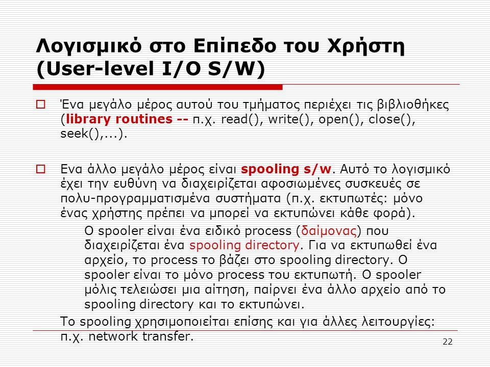 Λογισμικό στο Επίπεδο του Χρήστη (User-level I/O S/W)