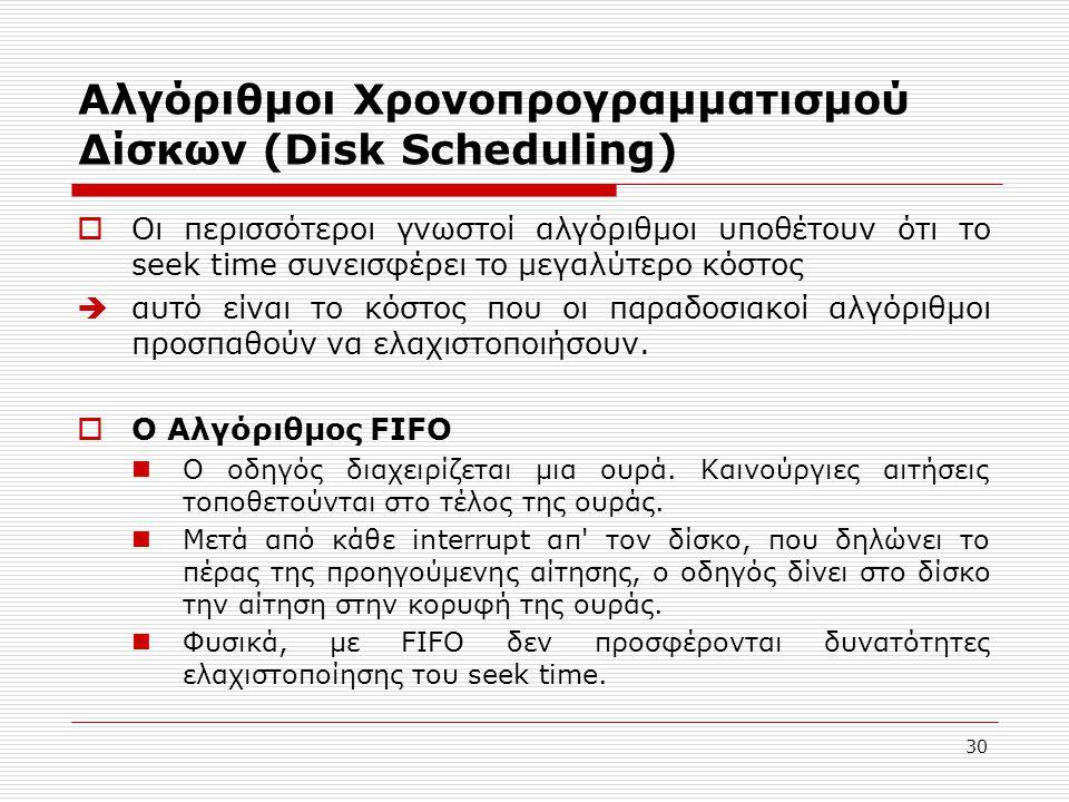 Αλγόριθμοι Χρονοπρογραμματισμού Δίσκων (Disk Scheduling)