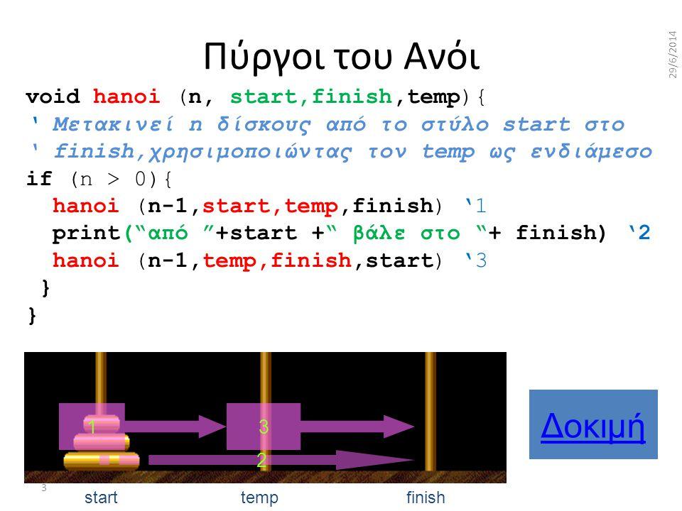 Πύργοι του Ανόι Δοκιμή void hanoi (n, start,finish,temp){