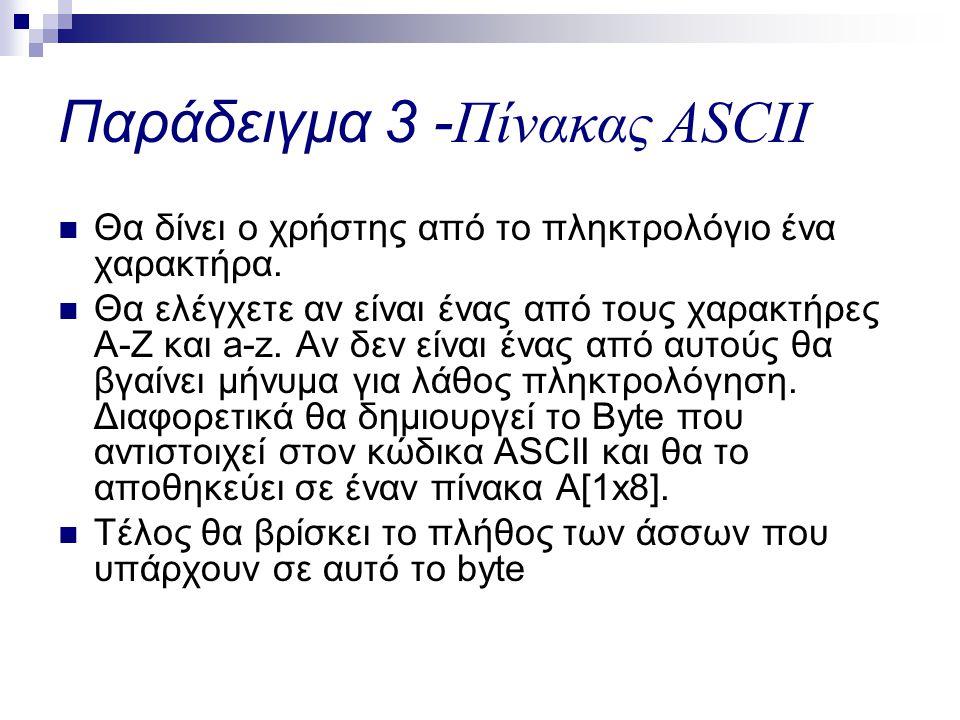 Παράδειγμα 3 -Πίνακας ASCII