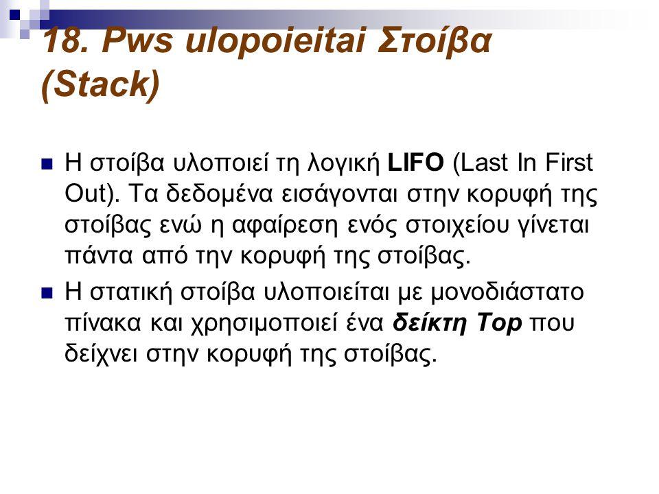 18. Pws ulopoieitai Στοίβα (Stack)