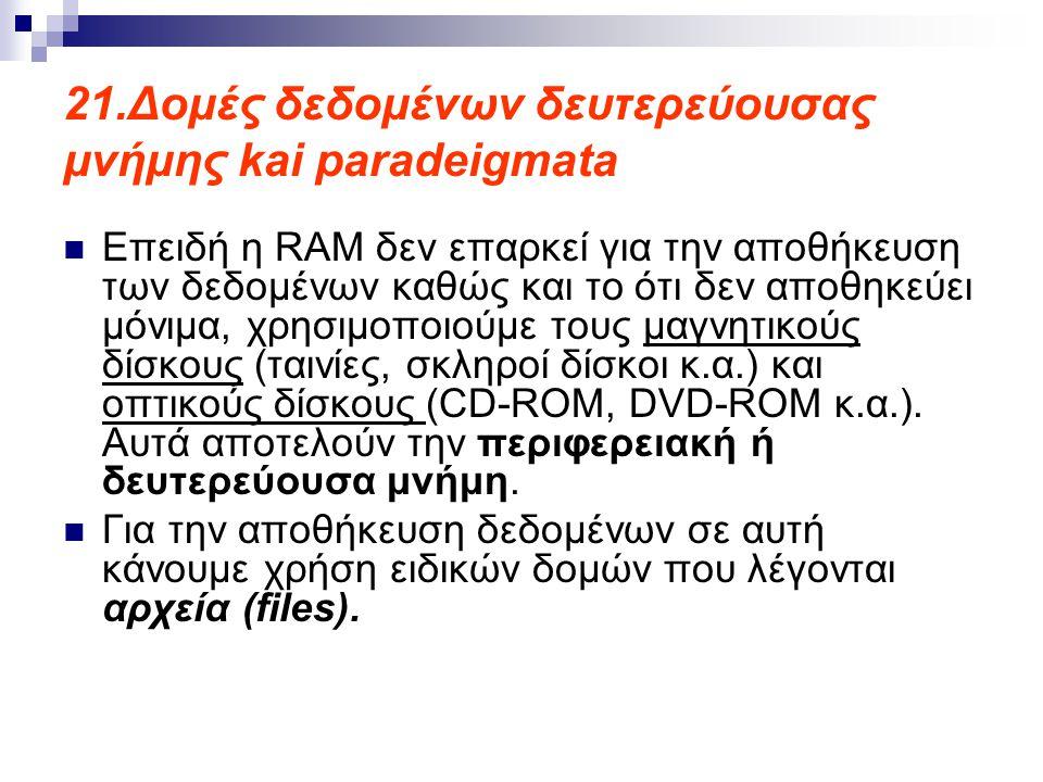 21.Δομές δεδομένων δευτερεύουσας μνήμης kai paradeigmata