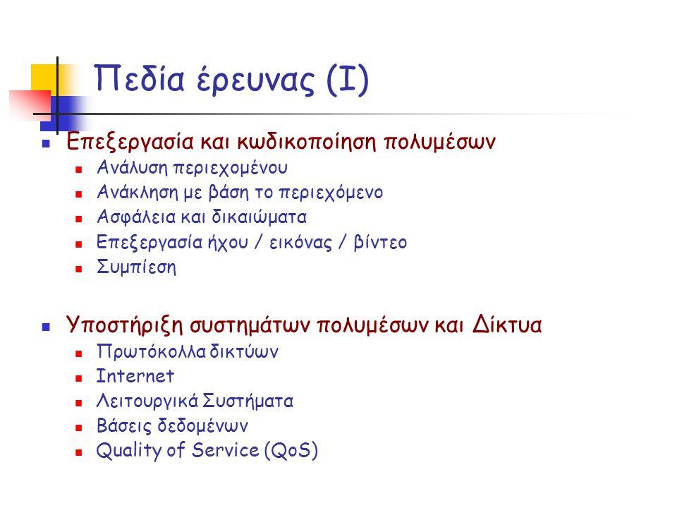 Πεδία έρευνας (I) Επεξεργασία και κωδικοποίηση πολυμέσων