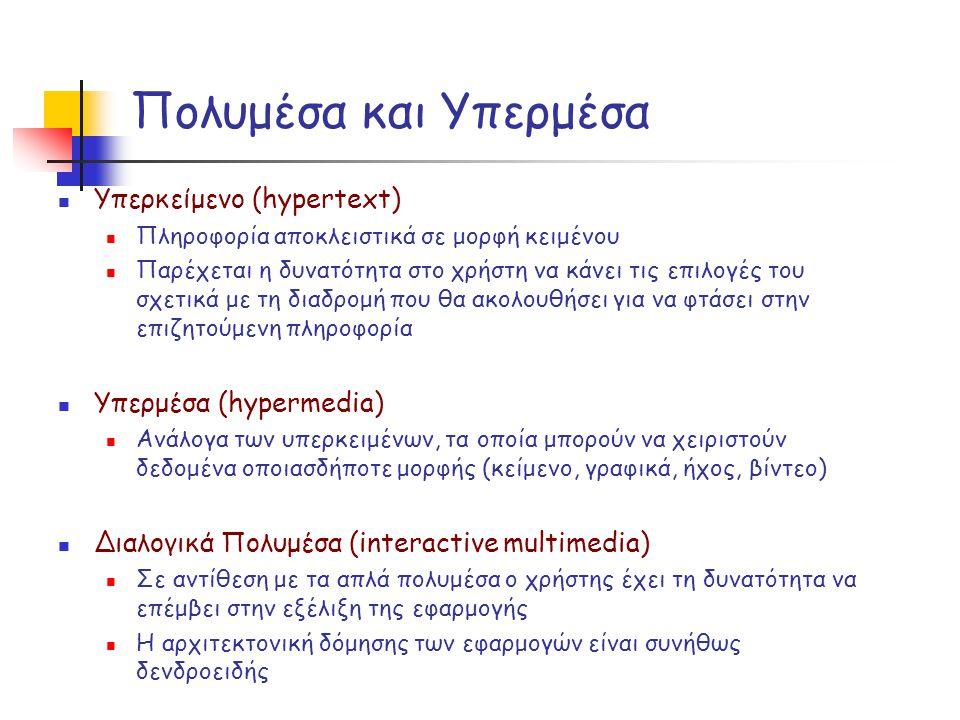 Πολυμέσα και Υπερμέσα Υπερκείμενο (hypertext) Υπερμέσα (hypermedia)