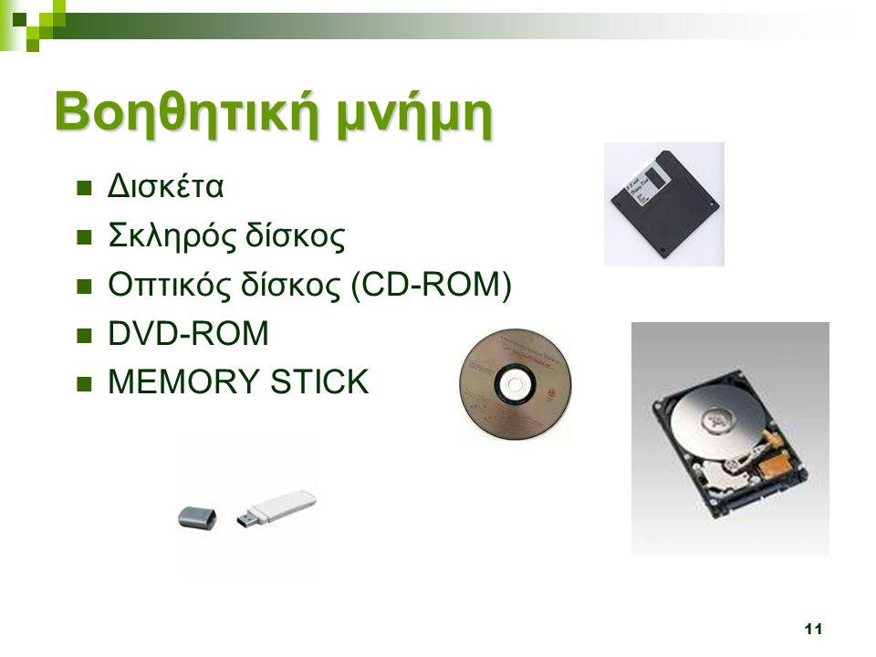 Βοηθητική μνήμη Δισκέτα Σκληρός δίσκος Οπτικός δίσκος (CD-ROM) DVD-ROM