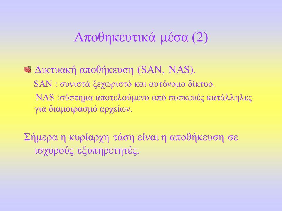 Αποθηκευτικά μέσα (2) Δικτυακή αποθήκευση (SAN, NAS).