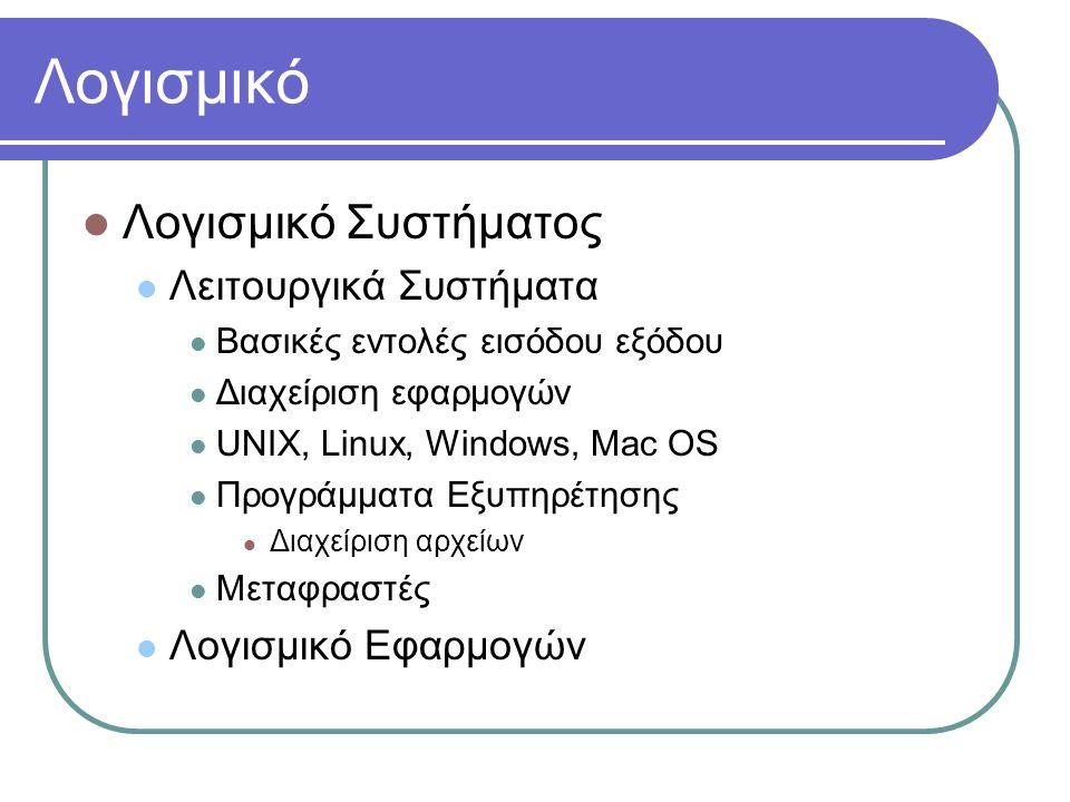 Λογισμικό Λογισμικό Συστήματος Λειτουργικά Συστήματα