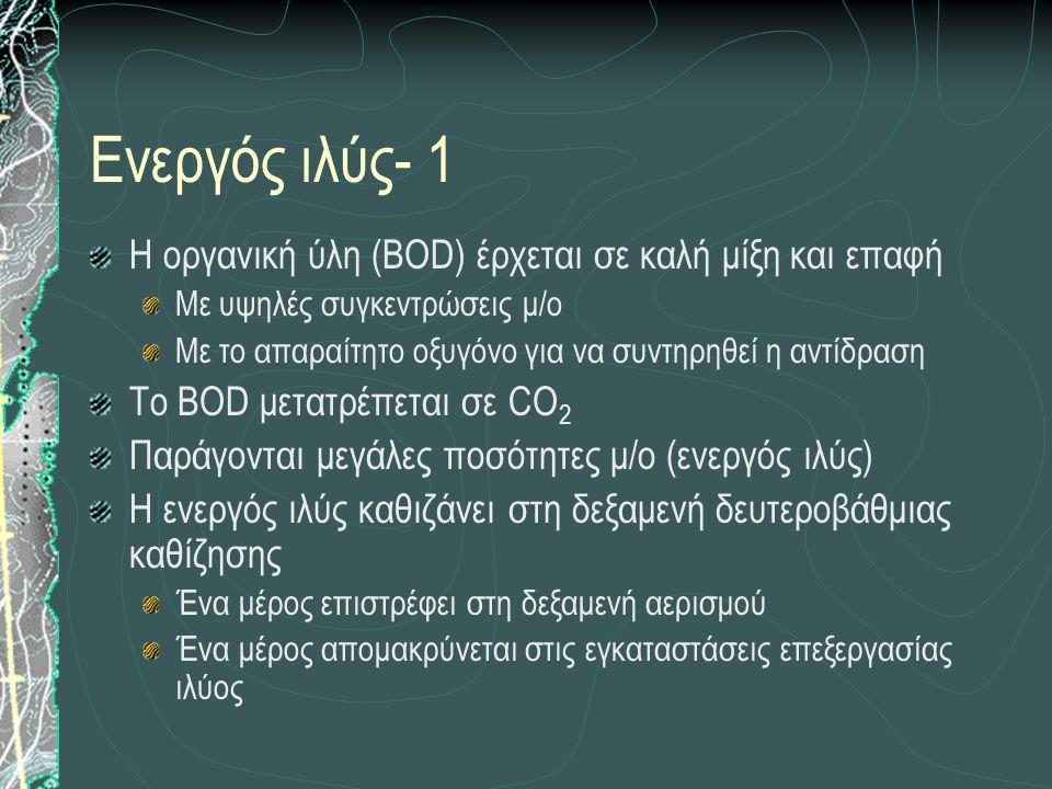 Ενεργός ιλύς- 1 Η οργανική ύλη (BOD) έρχεται σε καλή μίξη και επαφή