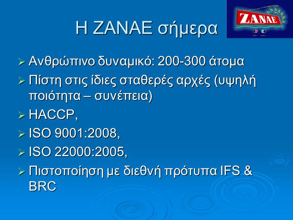 Η ΖΑΝAΕ σήμερα Ανθρώπινο δυναμικό: 200-300 άτομα