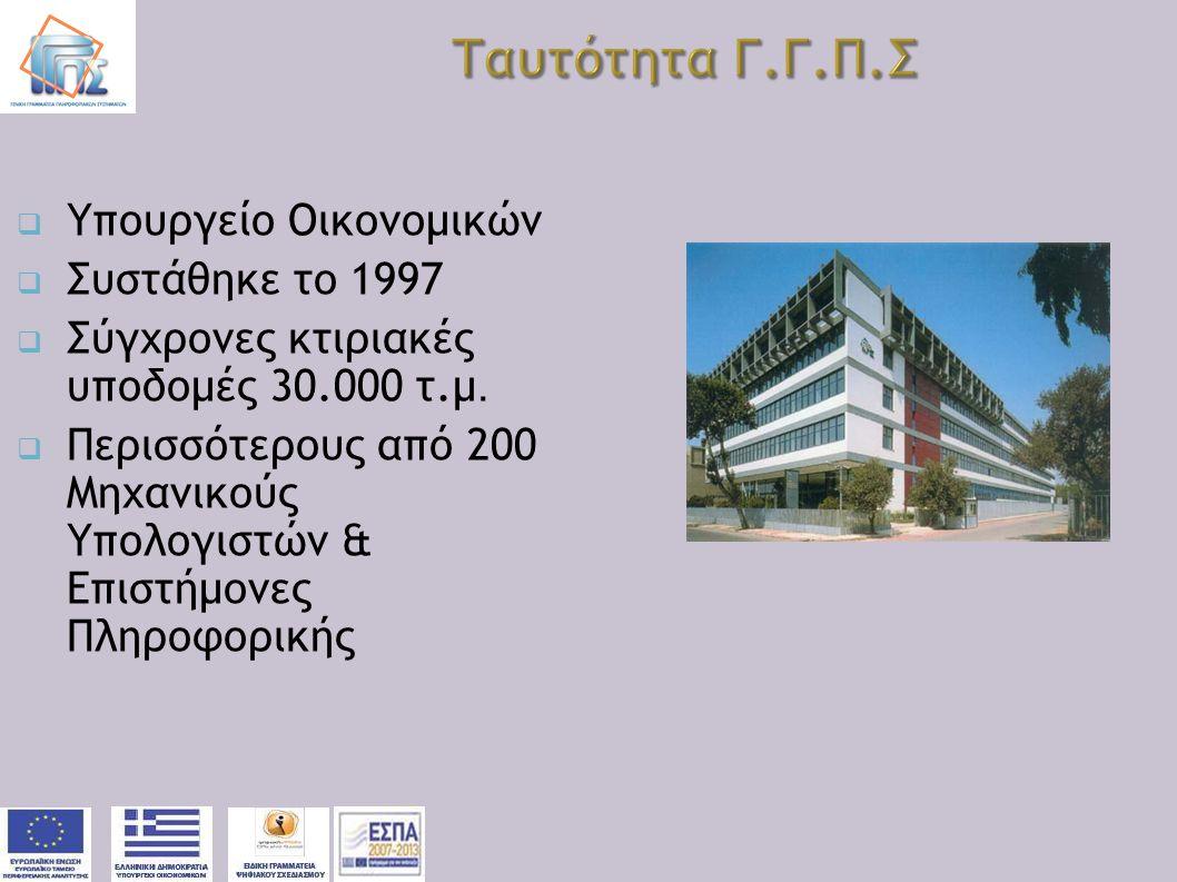 Ταυτότητα Γ.Γ.Π.Σ Υπουργείο Οικονομικών Συστάθηκε το 1997