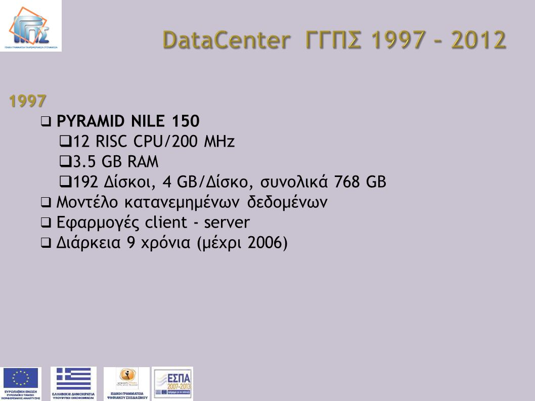 DataCenter ΓΓΠΣ 1997 – 2012 1997 PYRAMID NILE 150 12 RISC CPU/200 MHz