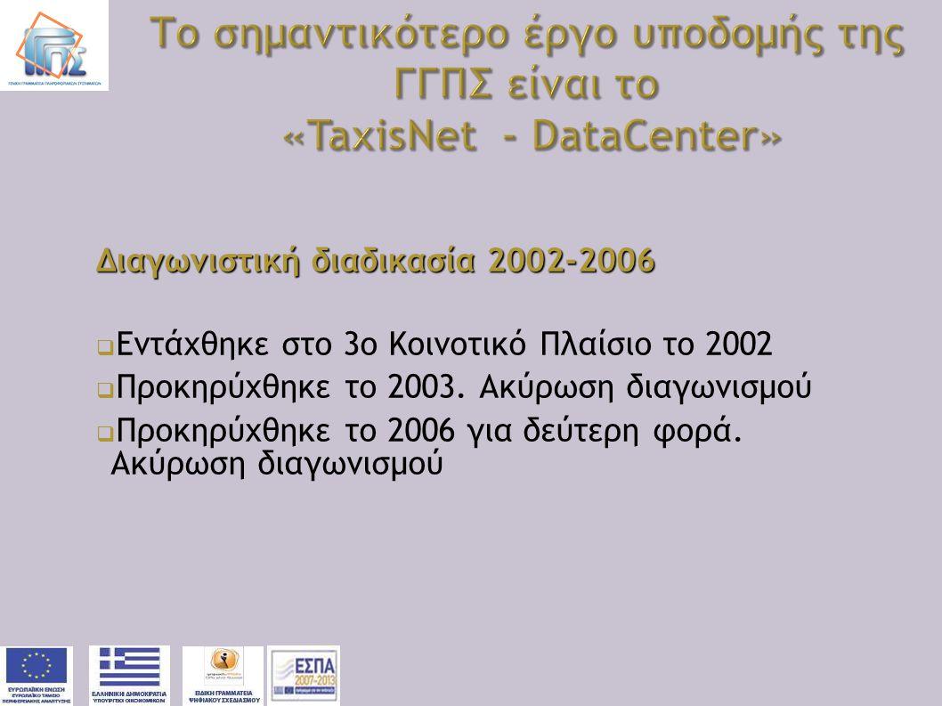 Το σημαντικότερο έργο υποδομής της ΓΓΠΣ είναι το «TaxisNet - DataCenter»