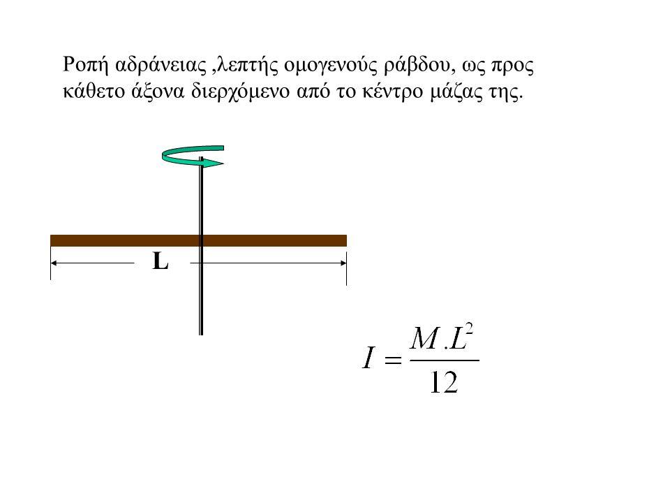 Ροπή αδράνειας ,λεπτής ομογενούς ράβδου, ως προς κάθετο άξονα διερχόμενο από το κέντρο μάζας της.