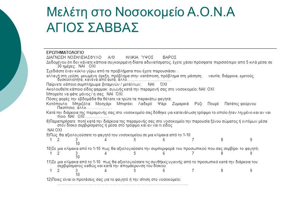 Μελέτη στο Νοσοκομείο Α.Ο.Ν.Α ΑΓΙΟΣ ΣΑΒΒΑΣ
