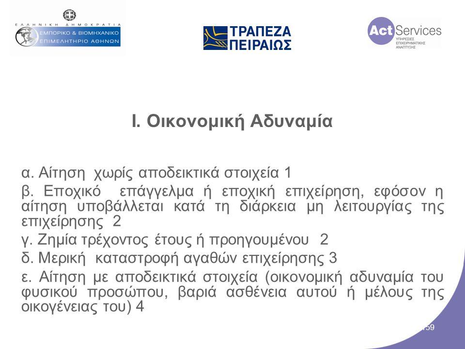 I. Οικονομική Αδυναμία α. Aίτηση χωρίς αποδεικτικά στοιχεία 1