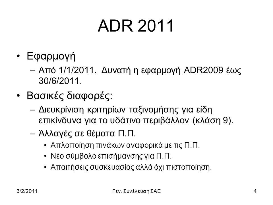 ADR 2011 Εφαρμογή Βασικές διαφορές: