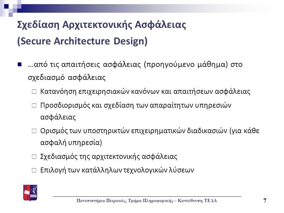 Σχεδίαση Αρχιτεκτονικής Ασφάλειας (Secure Architecture Design)