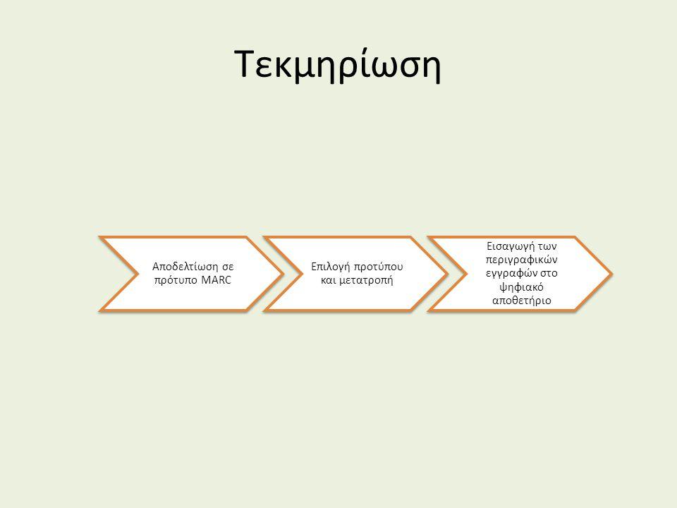 Τεκμηρίωση Αποδελτίωση σε πρότυπο MARC Επιλογή προτύπου και μετατροπή