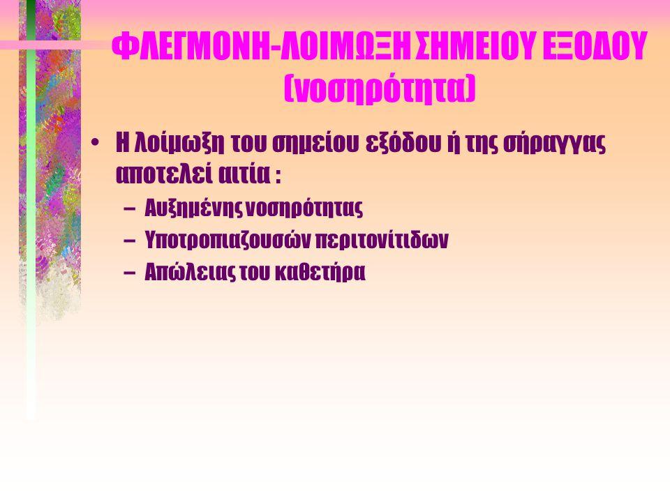 ΦΛΕΓΜΟΝΗ-ΛΟΙΜΩΞΗ ΣΗΜΕΙΟΥ ΕΞΟΔΟΥ (νοσηρότητα)