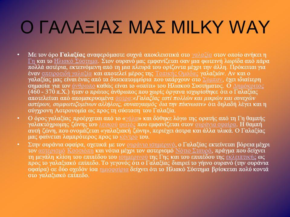 Ο ΓΑΛΑΞΙΑΣ ΜΑΣ MILKY WAY