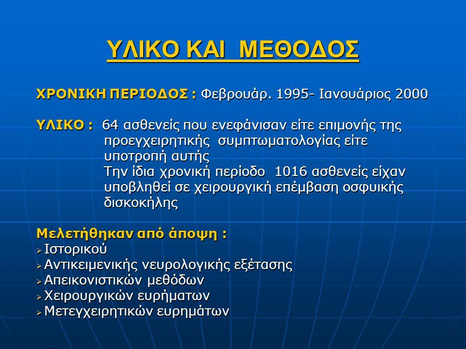 ΥΛΙΚΟ ΚΑΙ ΜΕΘΟΔΟΣ ΧΡΟΝΙΚΗ ΠΕΡΙΟΔΟΣ : Φεβρουάρ. 1995- Ιανουάριος 2000