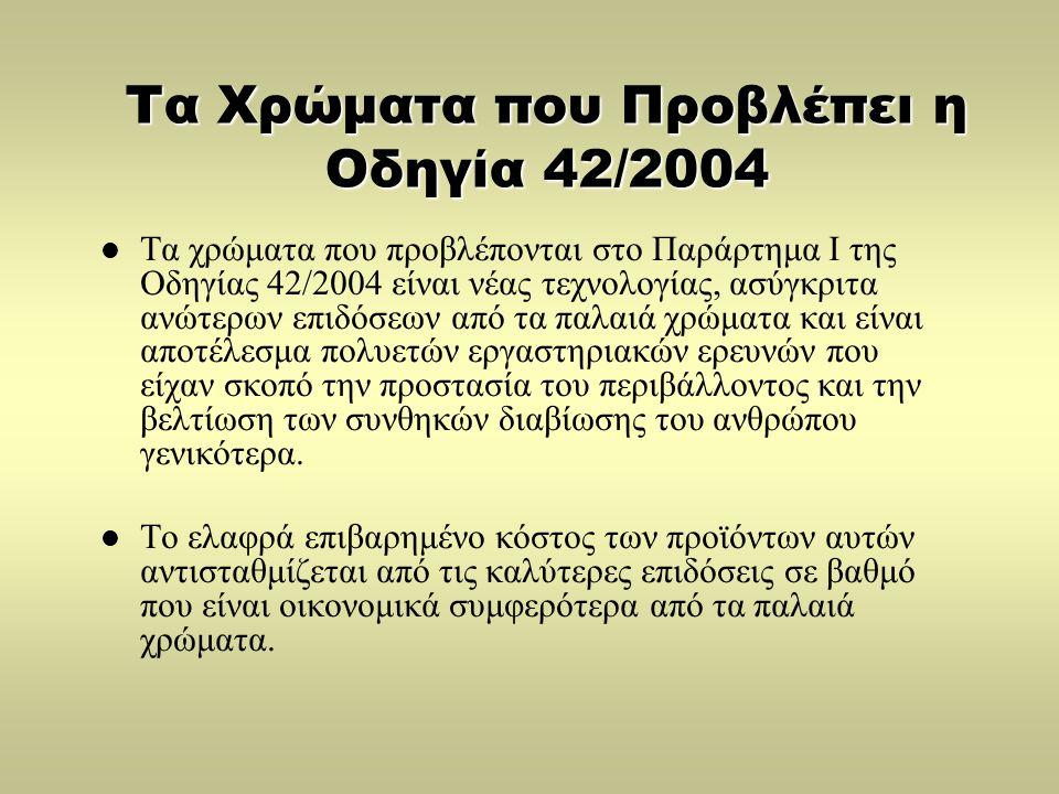 Τα Χρώματα που Προβλέπει η Οδηγία 42/2004