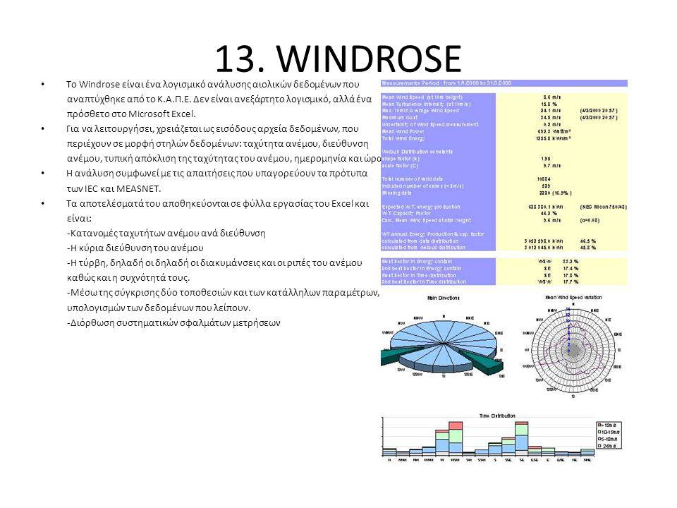 13. WINDROSE To Windrose είναι ένα λογισμικό ανάλυσης αιολικών δεδομένων που. αναπτύχθηκε από το Κ.Α.Π.Ε. Δεν είναι ανεξάρτητο λογισμικό, αλλά ένα.