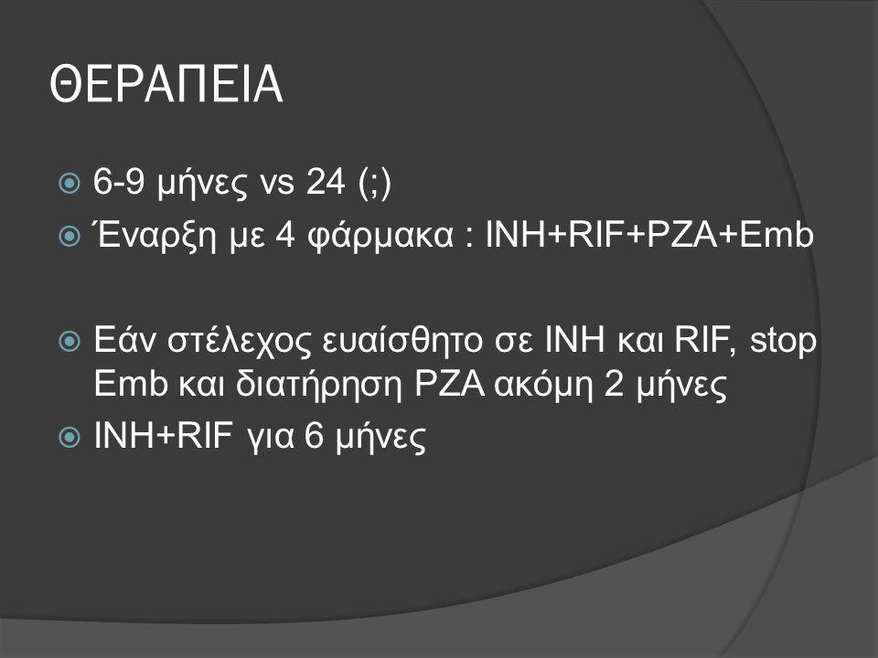 ΘΕΡΑΠΕΙΑ 6-9 μήνες vs 24 (;) Έναρξη με 4 φάρμακα : INH+RIF+PZA+Emb