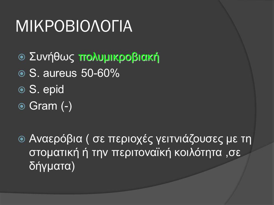 ΜΙΚΡΟΒΙΟΛΟΓΙΑ Συνήθως πολυμικροβιακή S. aureus 50-60% S. epid Gram (-)