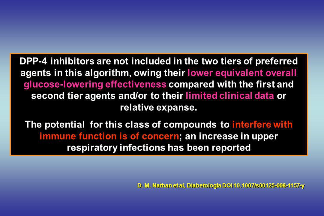DPP-4 inhibitors are not included in the two tiers of preferred agents in this algorithm, owing their lower equivalent overall glucose-lowering effectiveness compared with the first and second tier agents and/or to their limited clinical data or relative expanse.